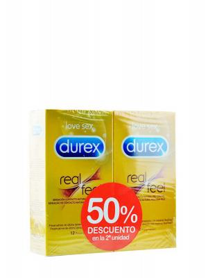 Durex duplo preservativos real feel 2x12 unidades