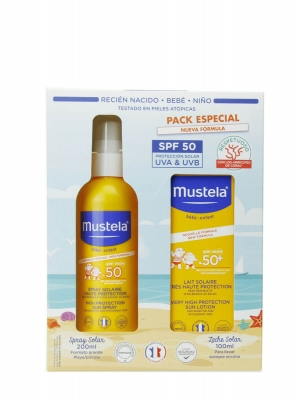 Mustela pack aftersun spray + protector solar corporal spf 50+