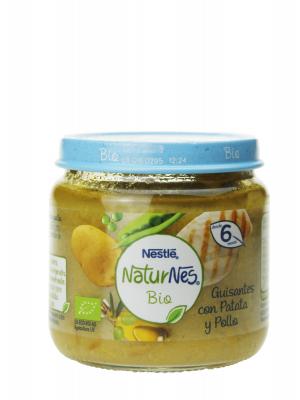 Nestlé naturnes bio potito con guisantes, patatas y pollo 200 gr