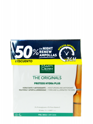 Pack martiderm® proteos hydra plus 30 ampollas + night renew 10 ampollas