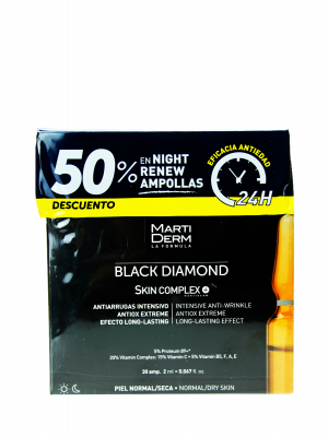 Pack martiderm ® black diamond skin complex 30 ampollas 2 ml +10 ampollas night renew
