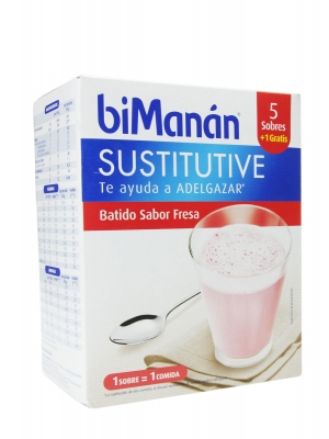 Bimanán sustitutive batido de fresa  6 unidades