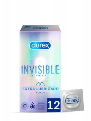 Durex invisible extra lubricado 12 preservativos