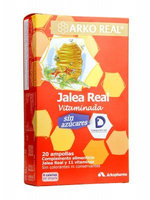 Jalea real vitaminada sin azucares arkopharma 20 ampollas.
