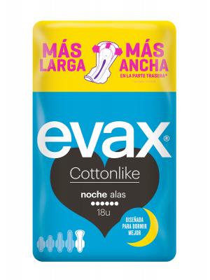 Evax cottonlike noche 18 compresas con alas