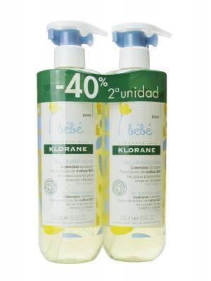 Klorane duplo gel limpiador bebé 2x500ml
