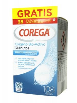 Corega oxígeno bio-activo 108 tabletas