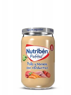 Nutriben potito de pollo, ternera y verduritas 235gr