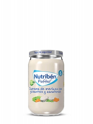 Nutriben potitos suprema merluza con guisantes y zanahoria  235gr