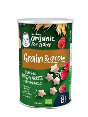 Nestlé gerber puffs orgánico trigo y arroz con frambuesa 35 gr