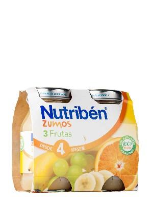 Nutriben zumo 3 frutas 130 ml 2 unidades bipack
