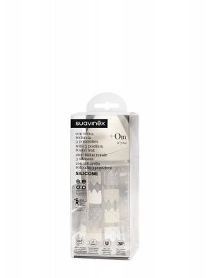 Suavinex white biberón con tetina 3 posiciones silicona 270 ml