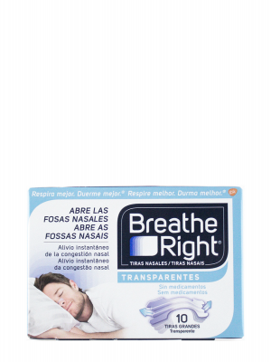 Breathe right transparente tiras grandes 10 unidades