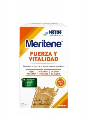 Meritene  fuerza y vitalidad sabor café descafeinado 30g 15 unidades