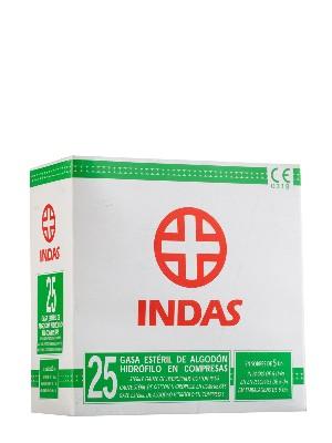 Gasa esteril 25 unidades algodón hidrofilo indas