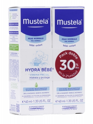 Duplo hydra bebe cara de mustela 40 ml 2 unidades