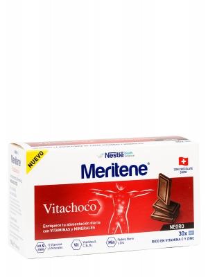Meritene vitachoco, vitaminas y minerales 30 onzas sabor chocolate negro