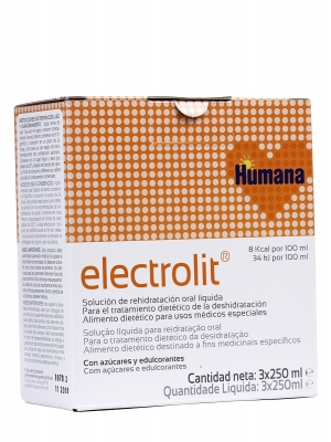 Humana electrolit plus solución de rehidratación oral líquida 250 ml 3 envases