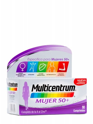 Vitaminas para mujer 50+ multicentrum 90 comprimidos.
