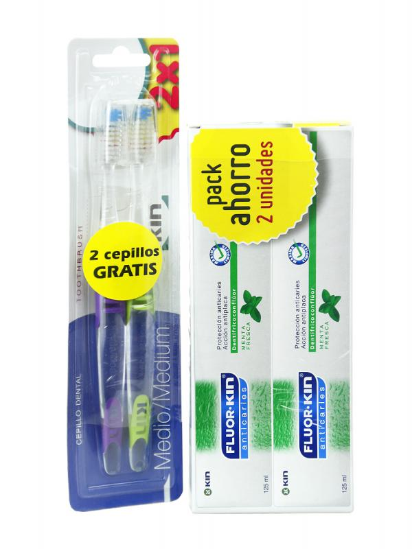 Duplo pasta dental kin fluor 125ml+2 cepillos de regalo