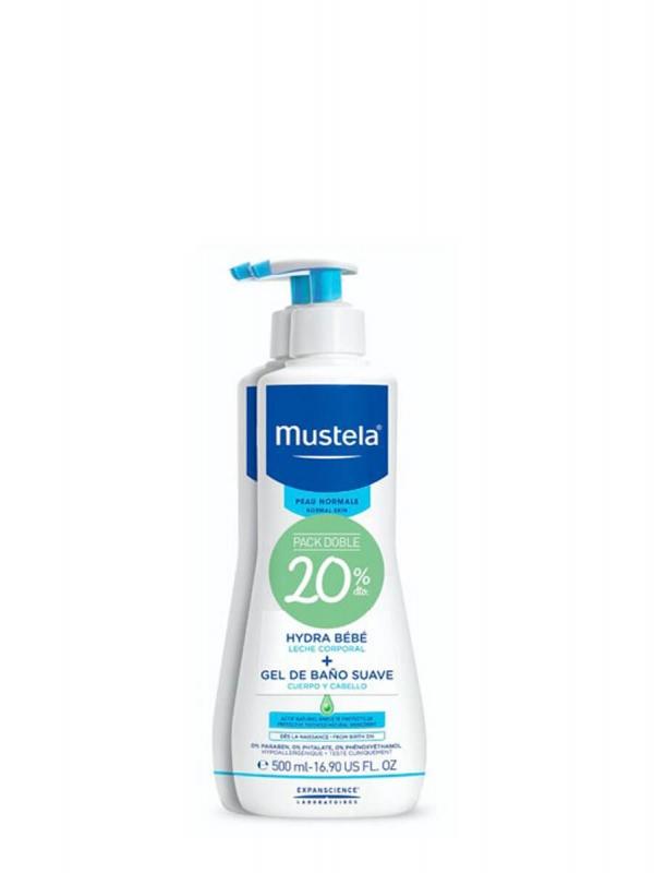 Mustela pack baño + cuidado 2x500ml