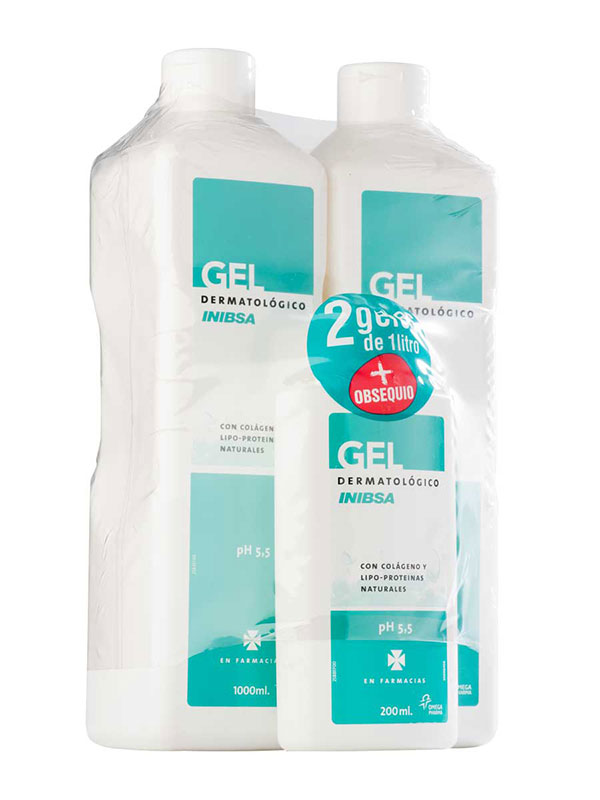 Inibsa pack 2 geles dermatologicos 1000 ml + gel viaje 200 ml gratis