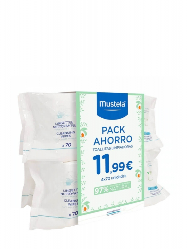 Mustela pack toallitas limpiadoras 4x70 unidades