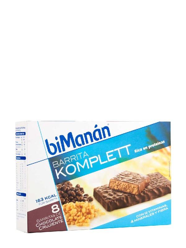 Bimanán barritas chocolate crujiente komplett, 8 unidades