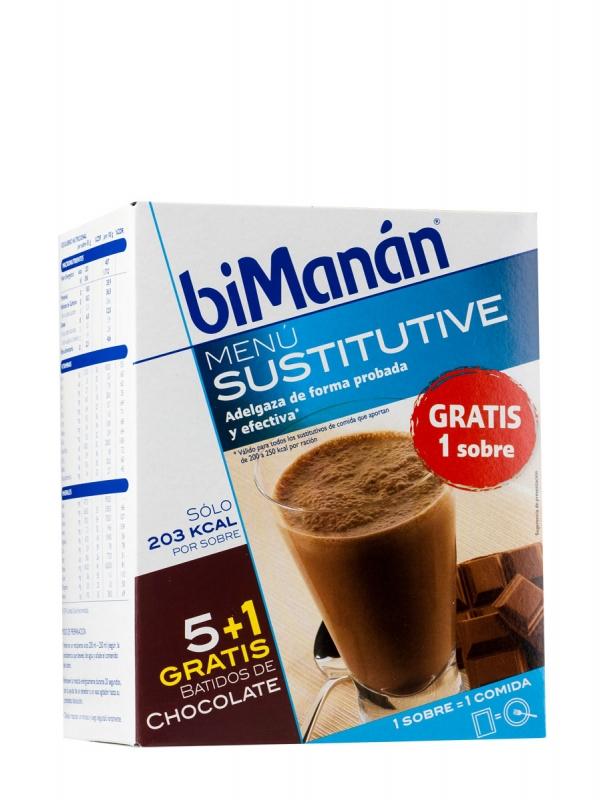 Bimanán batidos chocolate 5 unidades + 1 sobre gratis