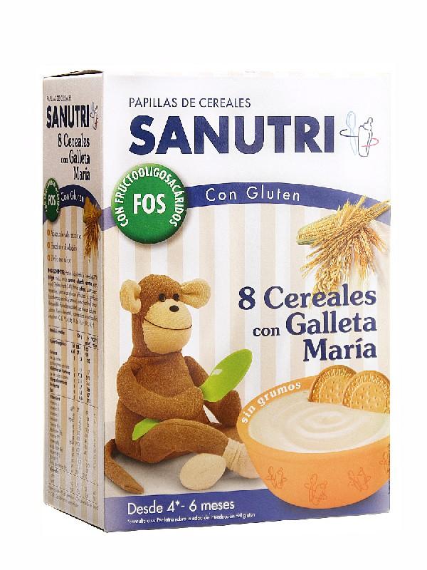 Sanutri 8 cereales con galletas con bifidus 600gr