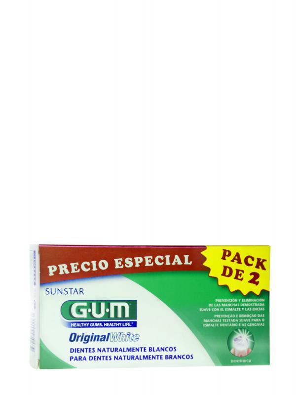 Pack de dos pastas de dientes blanqueadoras original white de gum  75 ml