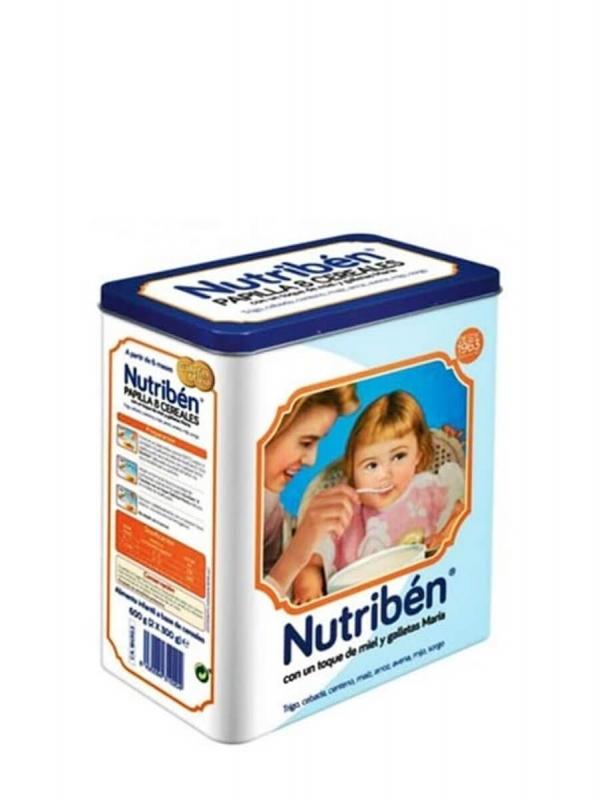 Nutribén papilla 8 cereales con un toque de miel y galletas maría lata vintage 2x300gr