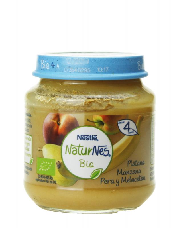 Nestlé naturnes bio plátano, manzana, pera y melocotón 120 gr