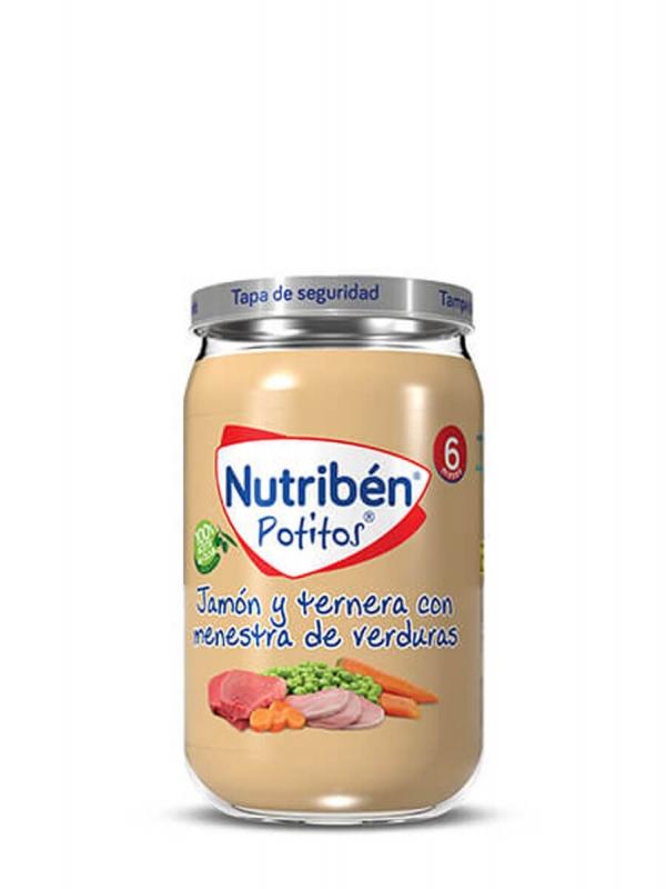 Nutriben potito de jamón y ternera con verduras 235gr