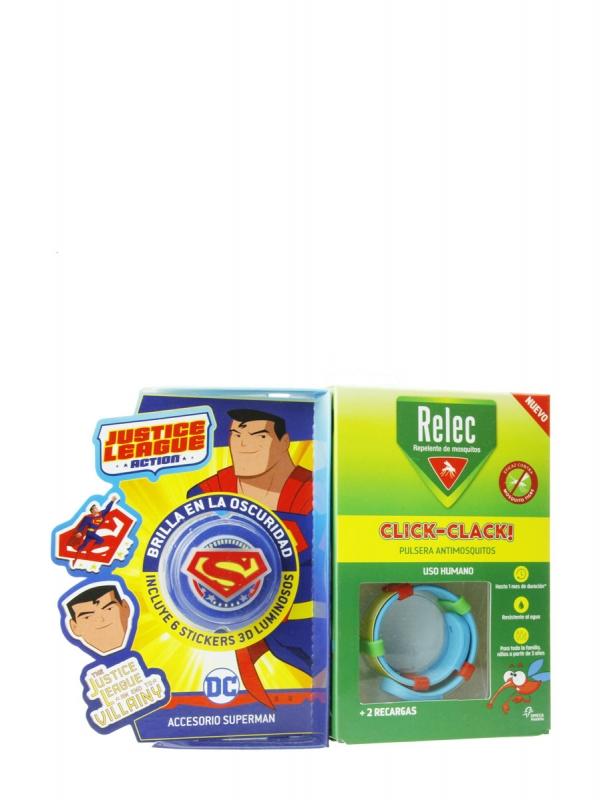 Relec pulsera antimosquitos + 6 stickers superman