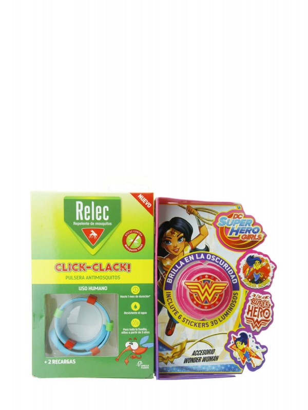 Relec pulsera antimosquitos + 6 stickers wonder woman