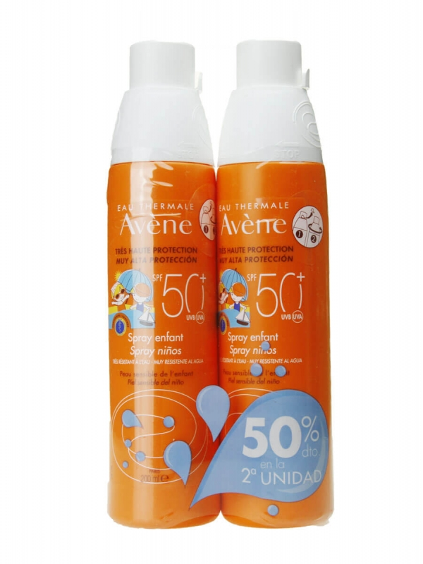 Avene duplo protección solar infantil spray spf50+ 2x200ml
