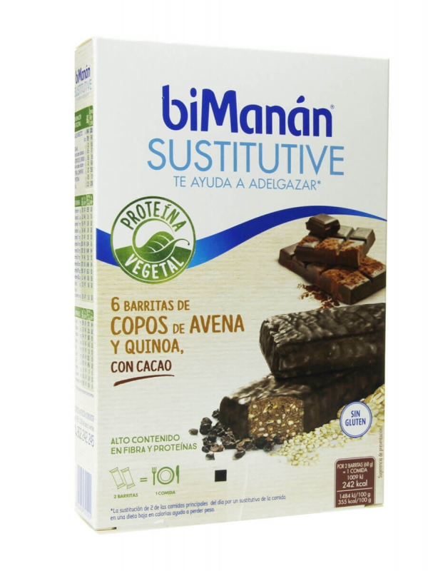 Bimanan sustitutive proteína vegetal 6 barritas cacao