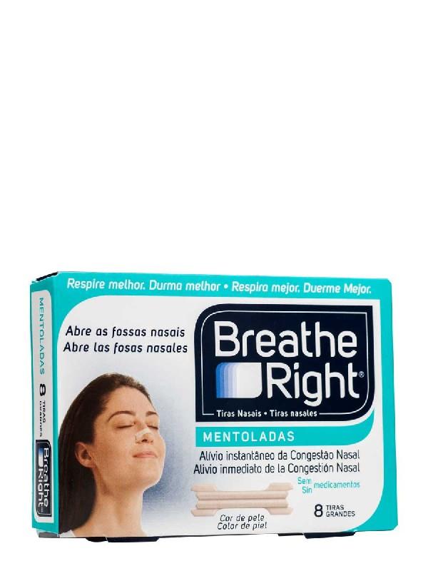 Breathe right tiras nasales mentoladas. tamaño grande. 8 unidades