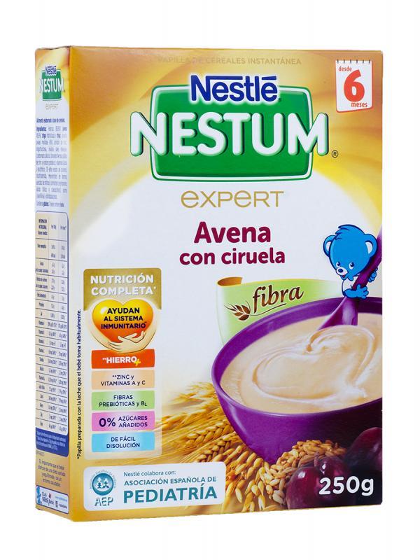 Papilla de cereales con avena y ciruela nestle nestum 250g.